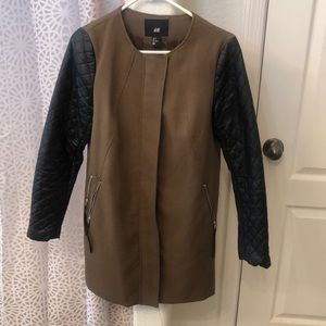 H&M Military Khaki Coat With Leather Sleeves Sz M